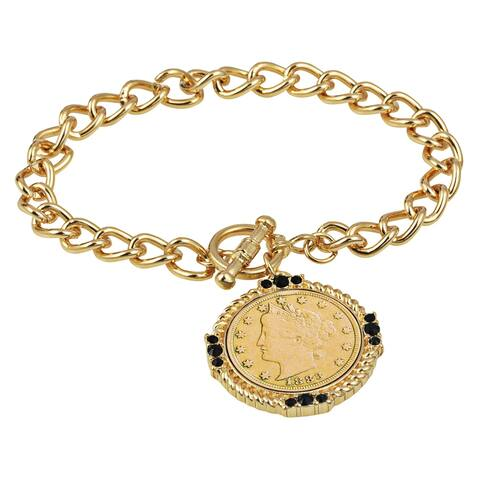 American Coin Treasures Gold Layered Liberty Nickel Coin Bracelet