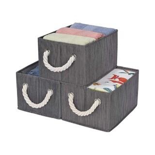 StorageWorks: Foldable Fabric Storage Bin w/Cotton Rope Handles, Slate, 3-Pack