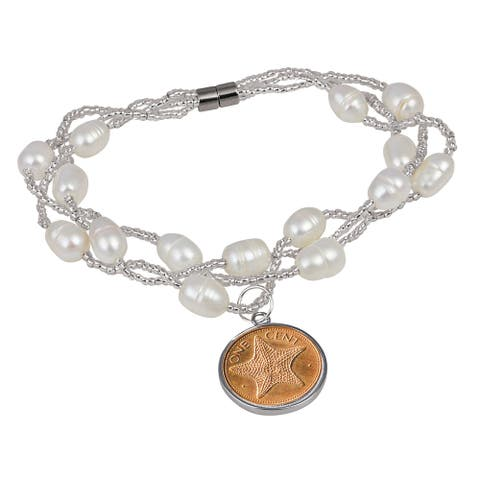 American Coin Treasures Starfish One Cent Pearl Coin Bracelet