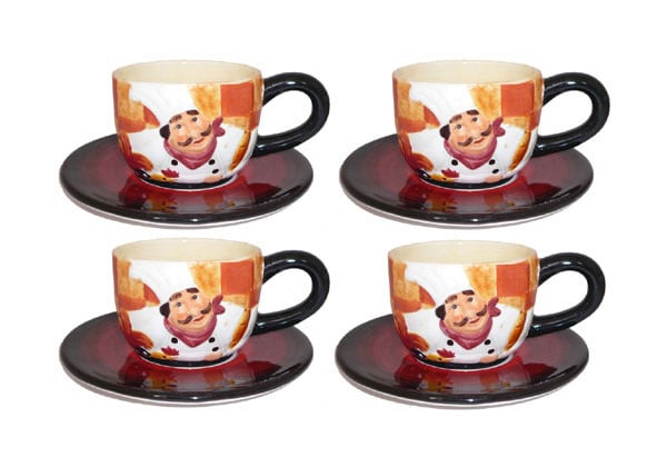 French Chef Cup & Saucer Set (Service for 4)
