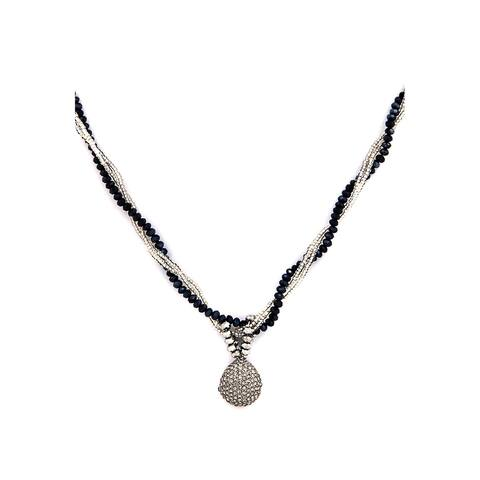 Crystal Oval Pendent with twisted Chain