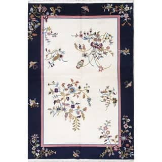 "Art Deco Floral Transitional Handmade Wool Chinese Oriental Area Rug - 9'0"" x 6'0"""