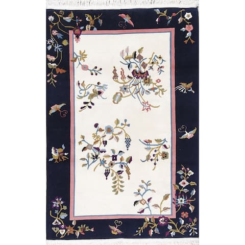 """Art Deco Floral Transitional Handmade Wool Chinese Oriental Area Rug - 5'11"""" x 3'11"""""""