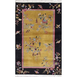 """Art Deco Floral Transitional Handmade Wool Chinese Oriental Area Rug - 5'11"""" x 3'9"""""""