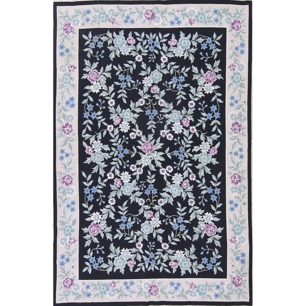 """Aubusson Floral Transitional Hand-Woven Wool Chinese Oriental Area Rug - 8'10"""" x 5'9"""""""