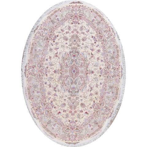 "Tabriz Floral Handmade Wool Silk Persian Oriental Rug - 10'1"" x 6'11"" Oval"