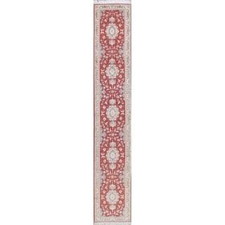"Tabriz Floral Handmade Wool Silk Persian Oriental Rug - 16'8"" x 2'10"" Runner"