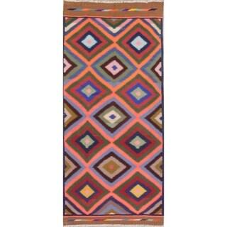 "Kilim Shiraz Geometric Hand-Woven Wool Persian Oriental Rug - 8'11"" x 3'11"" Runner"