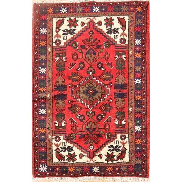 "Hamedan Tribal Geometric Handmade Wool Persian Oriental Area Rug - 3'9"" x 2'7"""