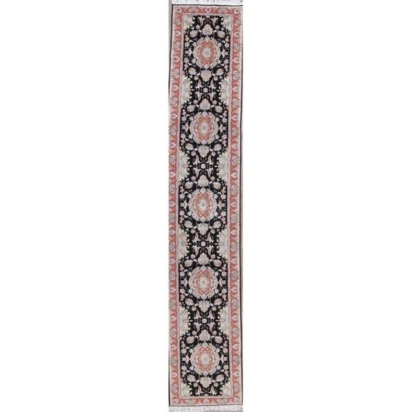 "Tabriz Floral Handmade Wool Silk Persian Oriental Rug - 17'0"" x 2'6"" Runner"