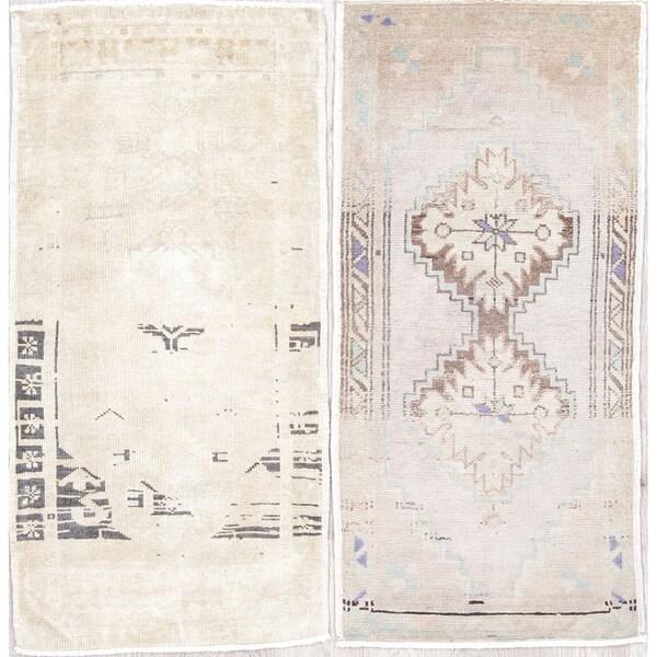 "Pack of 2 Oushak Geometric Handmade Wool Turkish Oriental Area Rug - 3'5"" x 1'9"""