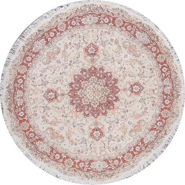 "Tabriz Floral Handmade Wool Silk Persian Oriental Rug - 6'8"" x 6'8"" Round"