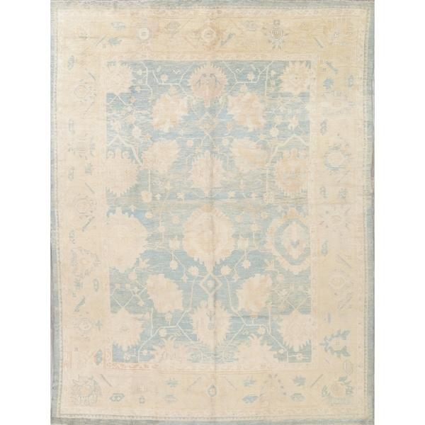 "Oushak All-Over Handmade Wool Turkish Oriental Area Rug - 13'10"" x 10'1"""