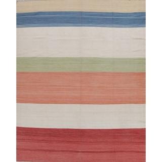 "Kilim Contemporary Striped Hand-Woven Wool Turkish Oriental Area Rug - 12'6"" x 10'1"""