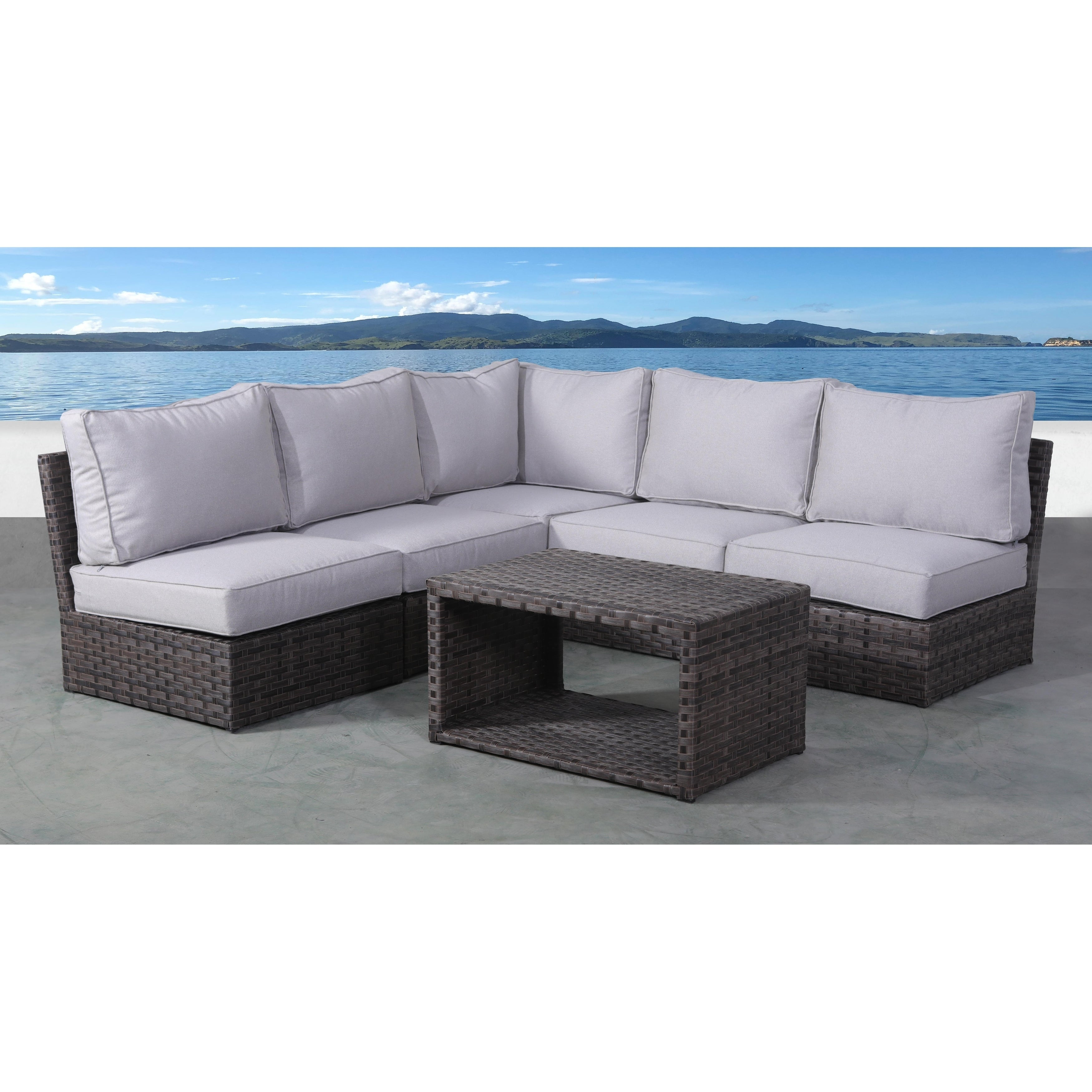 6 Piece Rattan Sectional Seating Group With Cushions On Sale Overstock 27863695