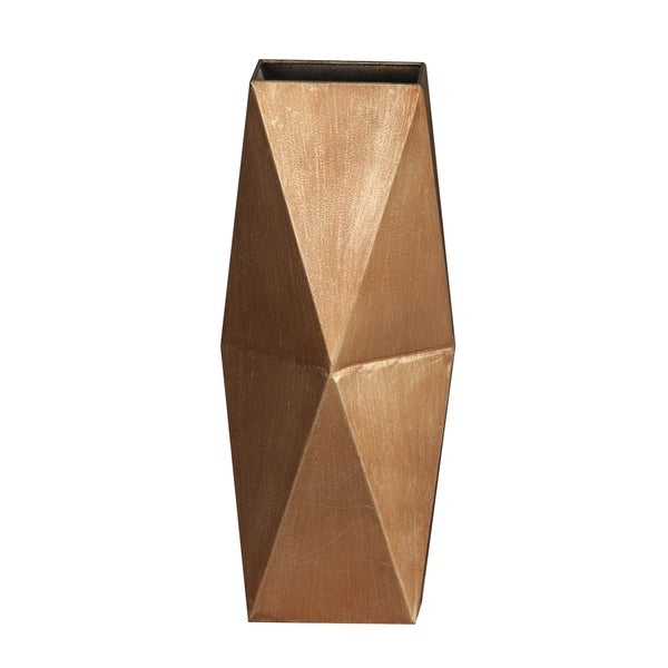 2pc Copper-Bronze Metal Flower Vase