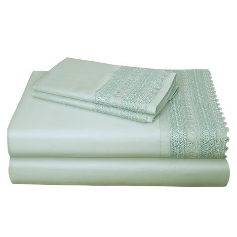 AURAA Smart 1400 TC Cotton Rich Lace, 4 Piece Sheet Set