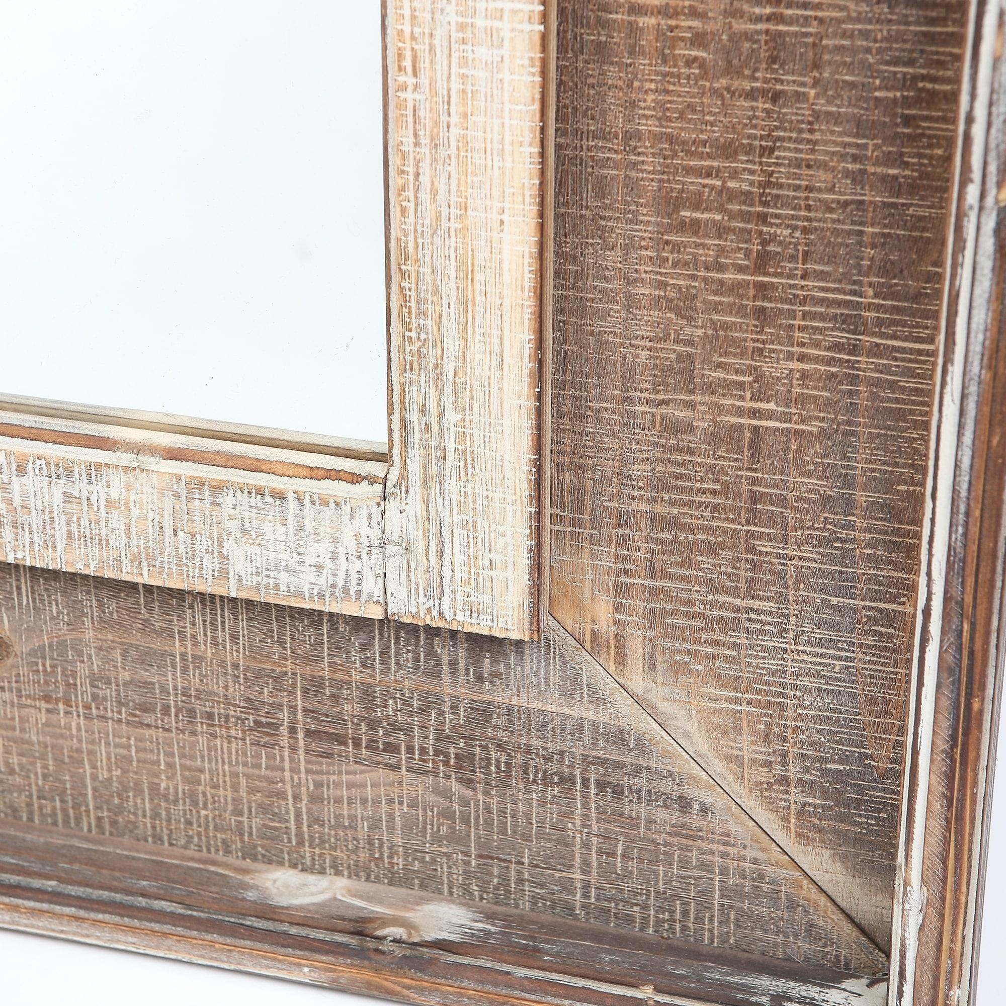 Rectangular Wood Window Frame Wall Mirror