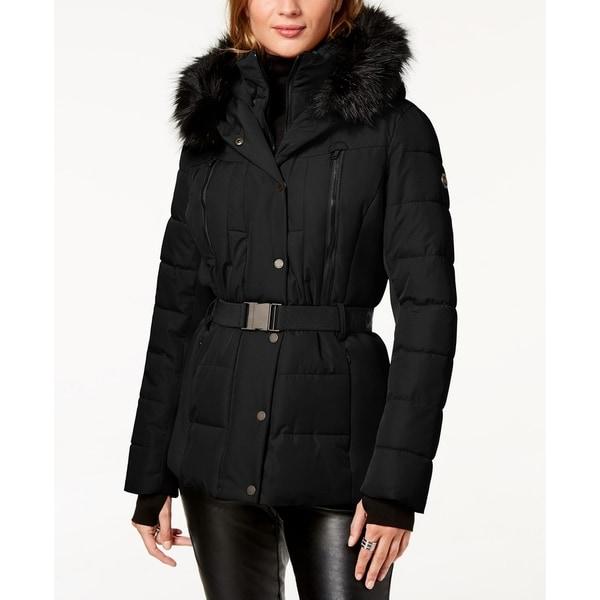 Michael Kors Belted Faux Fur Trim Puffer Coat