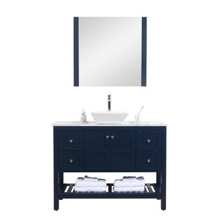 """Manhattan 48"""" Freestanding Vanity with White Marble Top in Navy"""