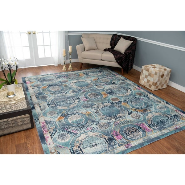 Porch & Den Barbara Blue and Teal Green Low-pile Rug