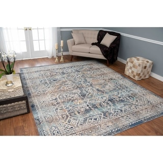 Porch & Den Blandy Blue and Grey Low-pile Rug