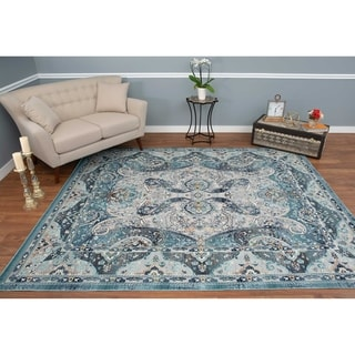 Porch & Den Germantown Silver/Teal Green High-low Area Rug