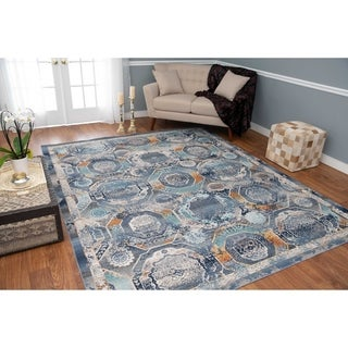 Porch & Den Barbara Blue and Ivory Low-pile Rug