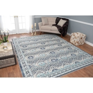 Porch & Den Beaumead Grey and Blue Low-pile Rug