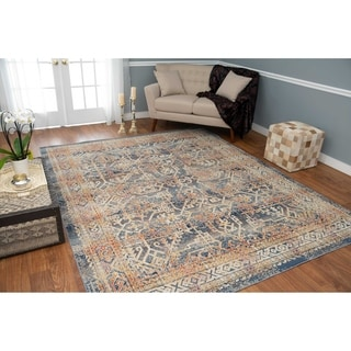 Porch & Den Blandy Blue and Rust Low-pile Rug