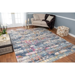 Porch & Den Annie Blue and Grey Low-pile Area Rug