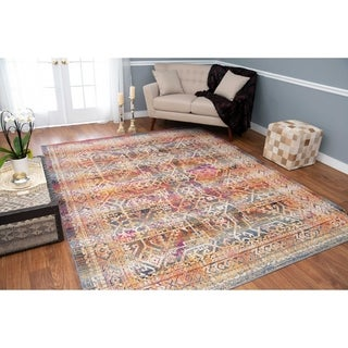 Porch & Den Blandy Blue and Pink Low-pile Rug