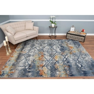 Porch & Den Fritz Blue/Grey High-low Area Rug