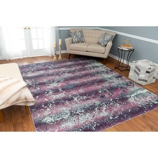 Shop Over Dyed Distressed Traditional Purple Beige Area