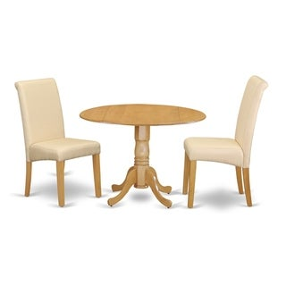 3Pc Small Round Kitchen Table with Elegant Parson Chairs (Number of Chair Option)