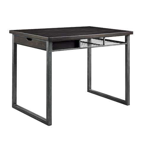 Rustic Wood and Metal Counter Height Table with One Side Drawer, Black and Brown