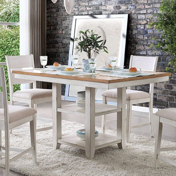 Shop Dual Tone Rectangular Solid Wood Counter Height Table