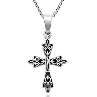 Handmade Redemption Cross Sterling Silver Faith Symbol Pendant Necklace Thailand