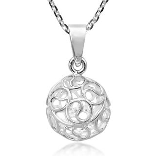 Handmade Romantic Swirls 3D Sphere Of Sterling Silver Ball Pendant Necklace Thailand