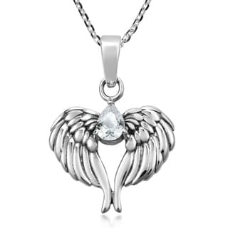 Handmade Wings Of An Angel Sterling Silver And Cubic Zirconia Pendant Necklace Thailand