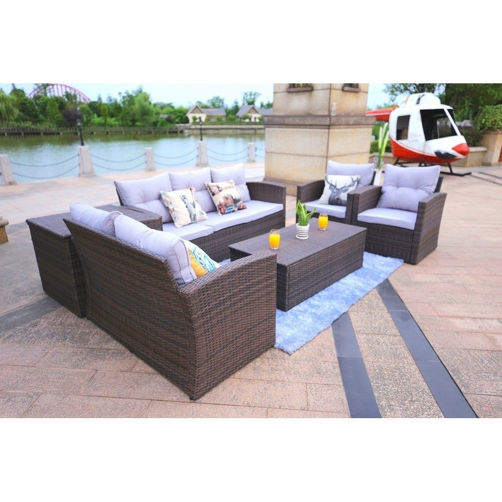 Direct Wicker Patio Furniture 6 Piece Outdoor Sectional Sofa Set With Storage Box And Coffee Table