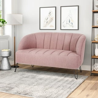 Christopher Knight Home Lupine Fabric Modern Loveseat with Hairpin, Metal Legs