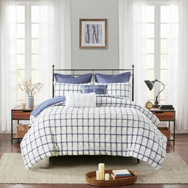Madison Park Matthies 7 Piece Printed Seersucker Comforter Set 2-Color Option