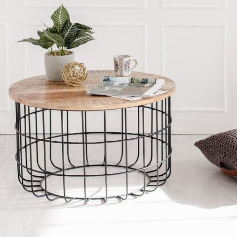 Carbon Loft Chessor Black and Natural Wood Cage Coffee Table