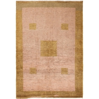ECARPETGALLERY Hand-knotted Persian Gabbeh Beige Wool Rug - 3'4 x 4'9