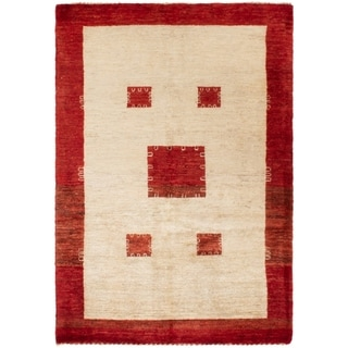 ECARPETGALLERY Hand-knotted Persian Gabbeh Beige Wool Rug - 3'5 x 4'11