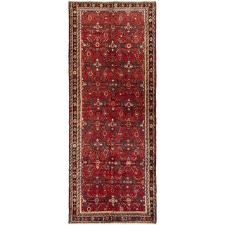 ECARPETGALLERY Hand-knotted Hamadan Red Wool Rug - 3'8 x 10'4