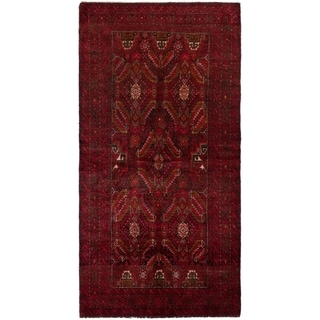 ECARPETGALLERY Hand-knotted Finest Baluch Red Wool Rug - 3'3 x 6'4