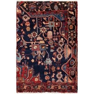 ECARPETGALLERY Hand-knotted Hamadan Dark Navy Wool Rug - 3'3 x 4'3