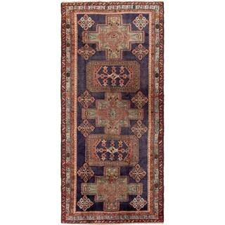 ECARPETGALLERY Hand-knotted Ardabil Dark Navy Wool Rug - 4'6 x 11'0